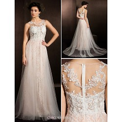 A-line Wedding Dress - Ivory Court Train Jewel Lace/Tulle