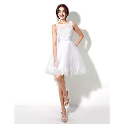 A-line Wedding Dress Knee-length Straps