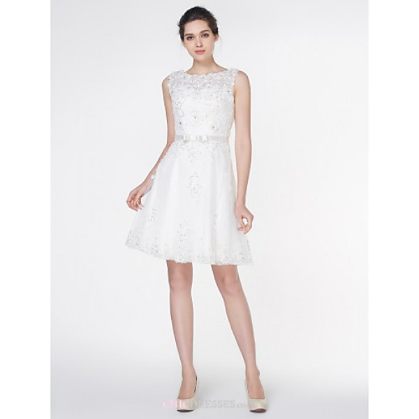 - A-line Wedding Dress - Ivory Knee-length Scoop Lace Wedding Dresses