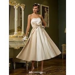 A-line/Princess Plus Sizes Wedding Dress - Ivory Tea-length Sweetheart Satin