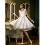 A-line Plus Sizes Wedding Dress - Ivory Knee-length Queen Anne Satin/Tulle Wedding Dresses