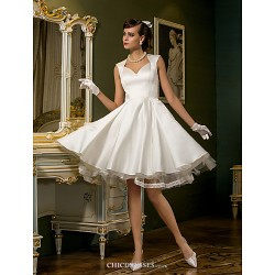 A-line Plus Sizes Wedding Dress - Ivory Knee-length Queen Anne Satin/Tulle