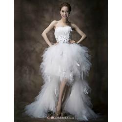 A-line Wedding Dress - White Floor-length Sweetheart Organza