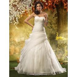 A Line Plus Sizes Wedding Dress Ivory Sweep Brush Train Sweetheart Organza
