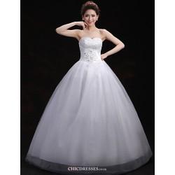 Ball Gown Wedding Dress White Floor Length Sweetheart Tulle
