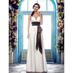 Sheath Column Plus Sizes Wedding Dress Ivory Floor Length Spaghetti Straps Chiffon