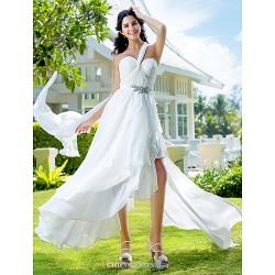 A Line Princess Plus Sizes Wedding Dress Ivory Asymmetrical One Shoulder Chiffon