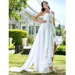 A-line/Princess Plus Sizes Wedding Dress - Ivory Asymmetrical One Shoulder Chiffon Wedding Dresses