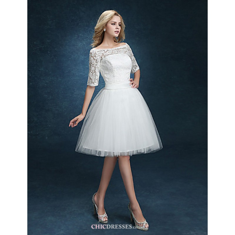 cef0913a77d2 Ball Gown Wedding Dress - White Short/Mini Bateau Lace Wedding Dresses