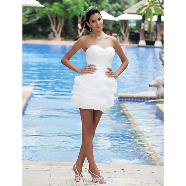 Ball Gown Plus Sizes Wedding Dress - Ivory Short/Mini Sweetheart Satin Wedding Dresses