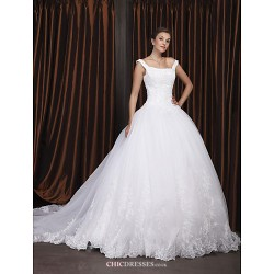 Ball Gown Plus Sizes Wedding Dress Ivory Chapel Train Off The Shoulder Organza