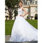 Ball Gown Plus Sizes Wedding Dress - Ivory Chapel Train Off-the-shoulder Organza Wedding Dresses