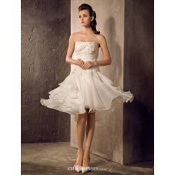 A-line/Princess Plus Sizes Wedding Dress - Ivory Knee-length Strapless Organza