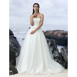 A Line Court Train Wedding Dress Strapless Lace Tulle