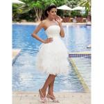 A-line Plus Sizes Wedding Dress - Ivory Knee-length Strapless Satin/Organza Wedding Dresses