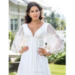 Sheath/Column Plus Sizes Wedding Dress - Ivory Floor-length V-neck Chiffon Wedding Dresses
