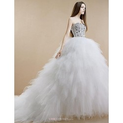 Princess Wedding Dress White Cathedral Train Strapless Tulle Stretch Satin