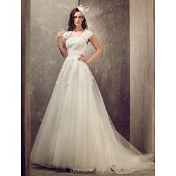 A Line Princess Plus Sizes Wedding Dress Ivory Sweep Brush Train Queen Anne Tulle Lace
