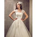 A-line/Princess Plus Sizes Wedding Dress - Ivory Sweep/Brush Train Queen Anne Tulle/Lace Wedding Dresses