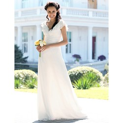 Trumpet Mermaid Plus Sizes Wedding Dress Ivory Floor Length V Neck Chiffon
