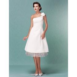 A Line Princess Plus Sizes Wedding Dress Ivory Knee Length One Shoulder Satin Tulle