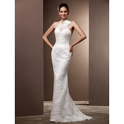 Trumpet/Mermaid Plus Sizes Wedding Dress - Ivory Sweep/Brush Train Halter Lace