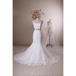 Trumpet Mermaid Wedding Dress Ivory Chapel Train Sweetheart Lace Satin Tulle