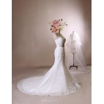Trumpet/Mermaid Wedding Dress - Ivory Chapel Train Sweetheart Lace / Satin / Tulle Wedding Dresses