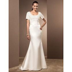 Trumpet Mermaid Plus Sizes Wedding Dress Ivory Court Train Scoop Satin Lace