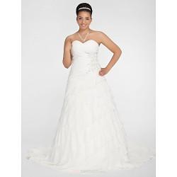 A Line Princess Plus Sizes Wedding Dress White Chapel Train Sweetheart Chiffon
