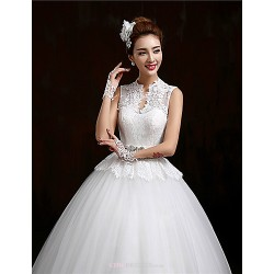 Ball Gown Floor-length Wedding Dress -V-neck Lace