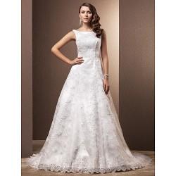 A-line Petite / Plus Sizes Wedding Dress - Ivory Chapel Train Scoop Lace