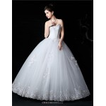Ball Gown Bride Wedding Dress - White Floor-length Sweetheart Lace / Satin / Tulle Wedding Dresses