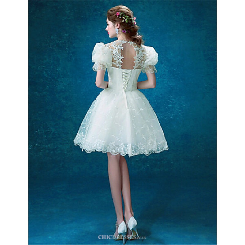 Ball Gown Short/Mini Wedding Dress - Jewel Tulle,Cheap Uk Dresses ...
