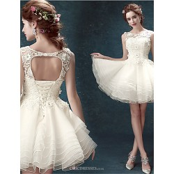 A Line Short Mini Wedding Dress Scoop Lace