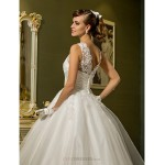 Princess Petite / Plus Sizes Wedding Dress - Ivory Ankle-length Jewel Tulle Wedding Dresses