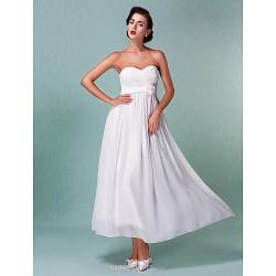 Sheath/Column Plus Sizes Wedding Dress - Ivory Ankle-length Sweetheart Chiffon