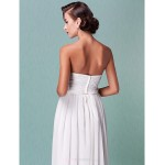 Sheath/Column Plus Sizes Wedding Dress - Ivory Ankle-length Sweetheart Chiffon Wedding Dresses