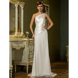 Sheath/Column Plus Sizes Wedding Dress - Ivory Sweep/Brush Train One Shoulder Chiffon/Stretch Satin
