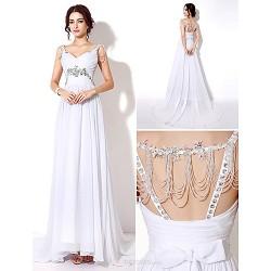 Sheath Column Wedding Dress Sweep Brush Train Floor Length Straps