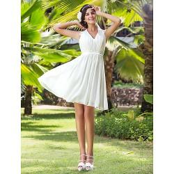 A Line Princess Plus Sizes Wedding Dress Ivory Knee Length V Neck Chiffon