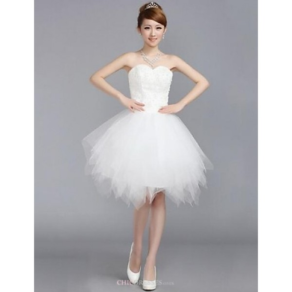 Wedding Party Dress - White A-line Sweetheart Knee-length Tulle Wedding Dresses
