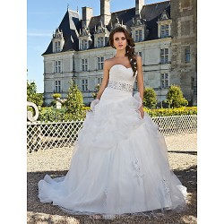 Ball Gown Plus Sizes Wedding Dress Ivory Chapel Train Sweetheart Organza