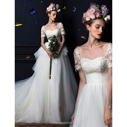 A Line Court Train Wedding Dress Square Tulle