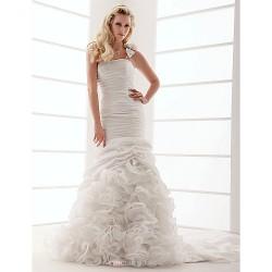 Fit & Flare Plus Sizes Wedding Dress - Ivory Court Train One Shoulder Taffeta