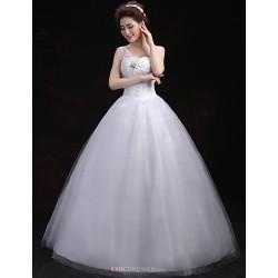 Ball Gown Wedding Dress White Floor Length One Shoulder Tulle