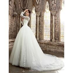 A-line Wedding Dress - White/Ivory Court Train Bateau Satin