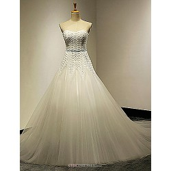 A-line Wedding Dress Court Train Sweetheart Tulle