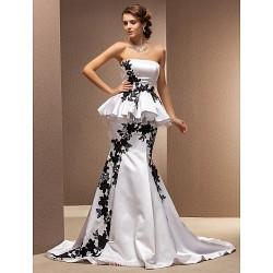 Trumpet Mermaid Plus Sizes Wedding Dress White Chapel Train Strapless Satin