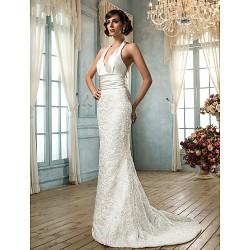 Trumpet/Mermaid Plus Sizes Wedding Dress - Ivory Sweep/Brush Train V-neck Lace/Satin
